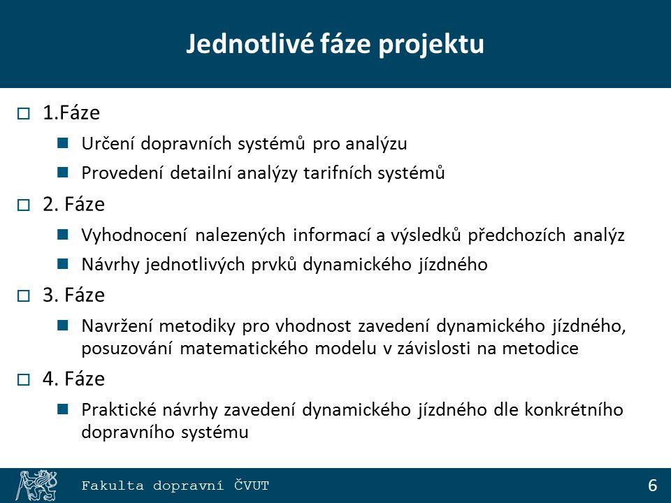 7 Fakulta dopravní ČVUT Tarifní systém - analýza  Analýza a vyhodnocení existujících tarifních systémů v České republice Zónový, pásmový tarifní systém, tarif IDS Způsoby odbavování Typy dopravních prostředků Druhy jízdních produktů Platnost jízdních produktů Možnosti platby Kontrola dodržování přepravních podmínek