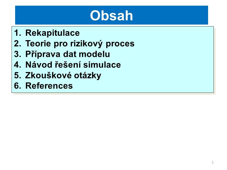 2 Obsah 1.Rekapitulace 2.Teorie pro rizikový proces 3.Příprava dat modelu 4.Návod řešení simulace 5.Zkouškové otázky 6.References 1.Rekapitulace 2.Teorie pro rizikový proces 3.Příprava dat modelu 4.Návod řešení simulace 5.Zkouškové otázky 6.References
