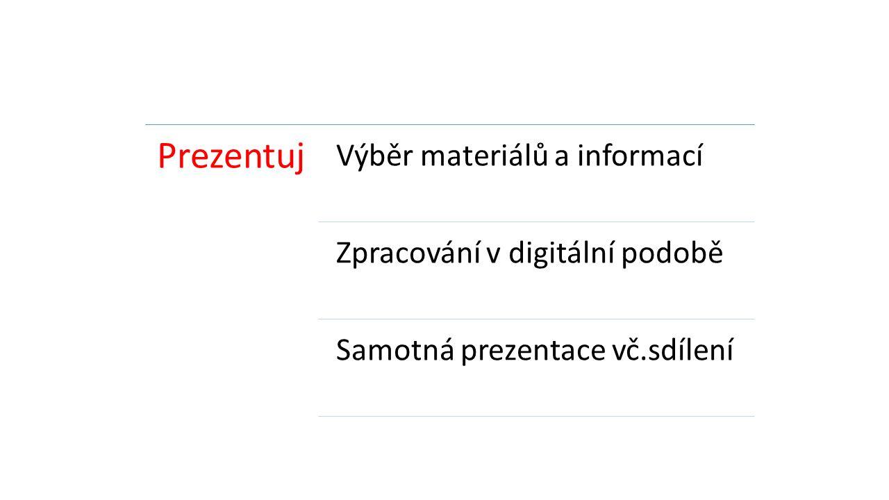Prezentuj Výběr materiálů a informací Zpracování v digitální podobě Samotná prezentace vč.sdílení