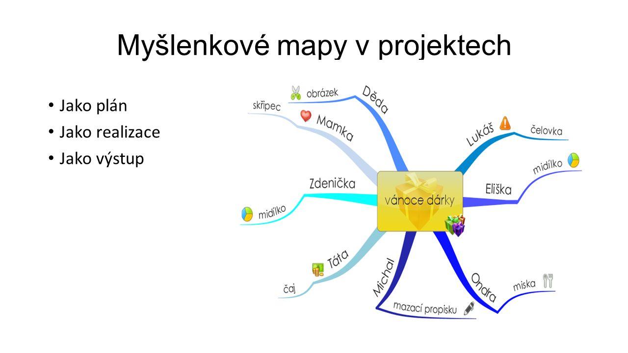 Myšlenkové mapy v projektech Jako plán Jako realizace Jako výstup