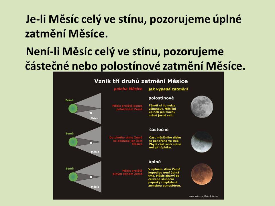 Je-li Měsíc celý ve stínu, pozorujeme úplné zatmění Měsíce. Není-li Měsíc celý ve stínu, pozorujeme částečné nebo polostínové zatmění Měsíce.
