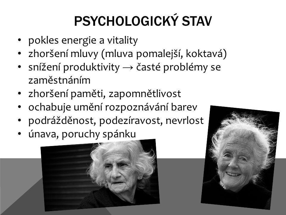 PSYCHOLOGICKÝ STAV pokles energie a vitality zhoršení mluvy (mluva pomalejší, koktavá) snížení produktivity → časté problémy se zaměstnáním zhoršení paměti, zapomnětlivost ochabuje umění rozpoznávání barev podrážděnost, podezíravost, nevrlost únava, poruchy spánku