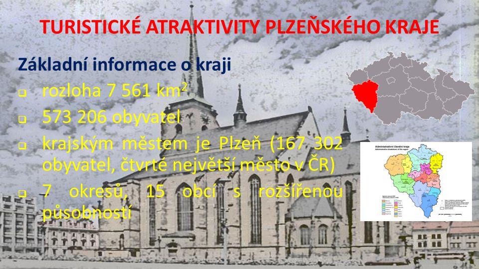 TURISTICKÉ ATRAKTIVITY PLZEŇSKÉHO KRAJE Základní informace o kraji  rozloha 7 561 km 2  573 206 obyvatel  krajským městem je Plzeň (167 302 obyvatel, čtvrté největší město v ČR)  7 okresů, 15 obcí s rozšířenou působností