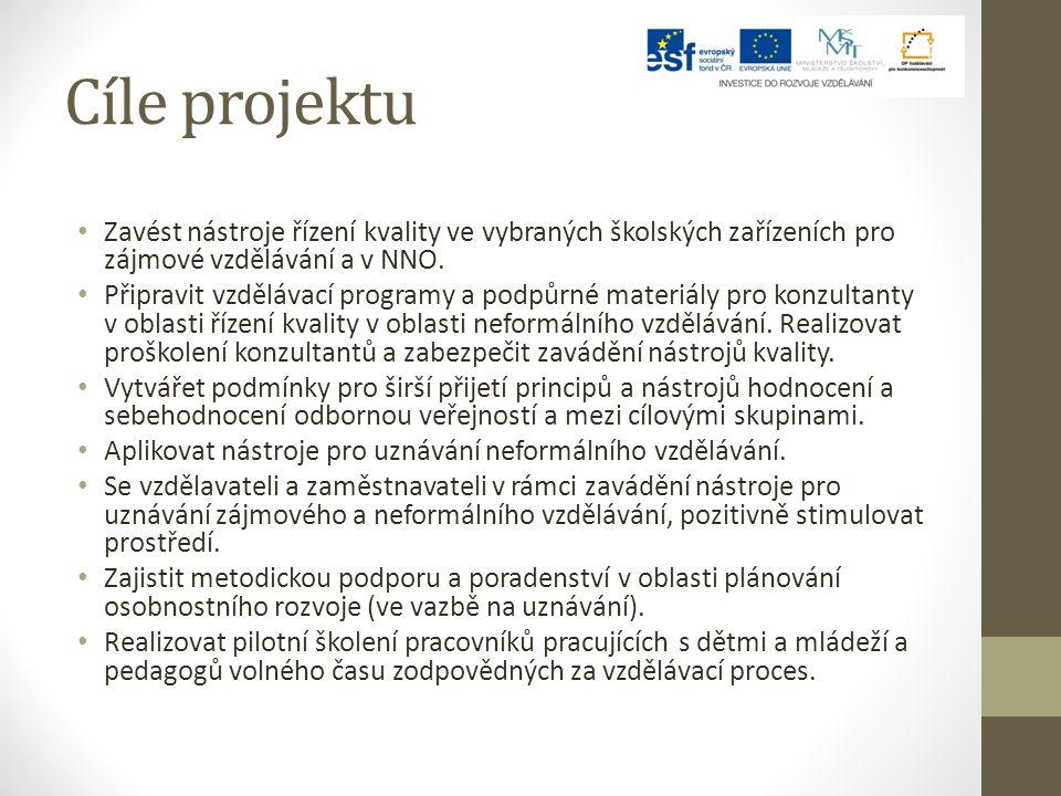 Cíle projektu Zavést nástroje řízení kvality ve vybraných školských zařízeních pro zájmové vzdělávání a v NNO.