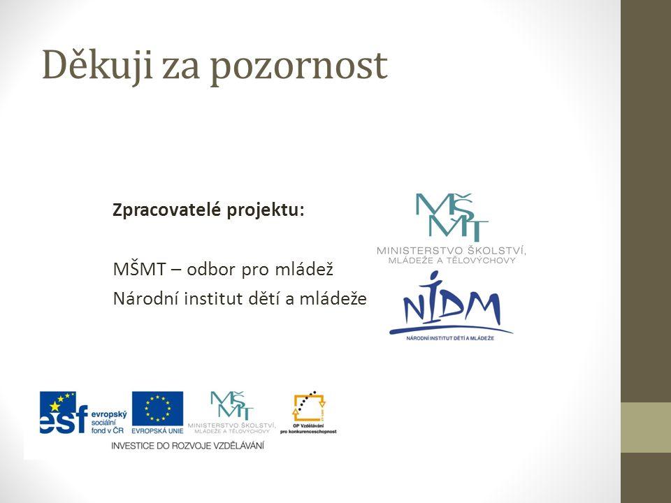 Děkuji za pozornost Zpracovatelé projektu: MŠMT – odbor pro mládež Národní institut dětí a mládeže
