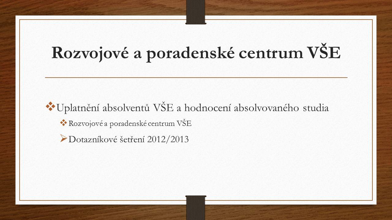Rozvojové a poradenské centrum VŠE  Uplatnění absolventů VŠE a hodnocení absolvovaného studia  Rozvojové a poradenské centrum VŠE  Dotazníkové šetření 2012/2013