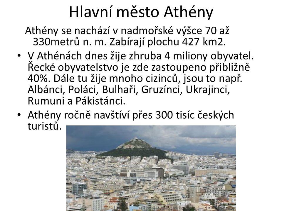 Athény se nachází v nadmořské výšce 70 až 330metrů n.