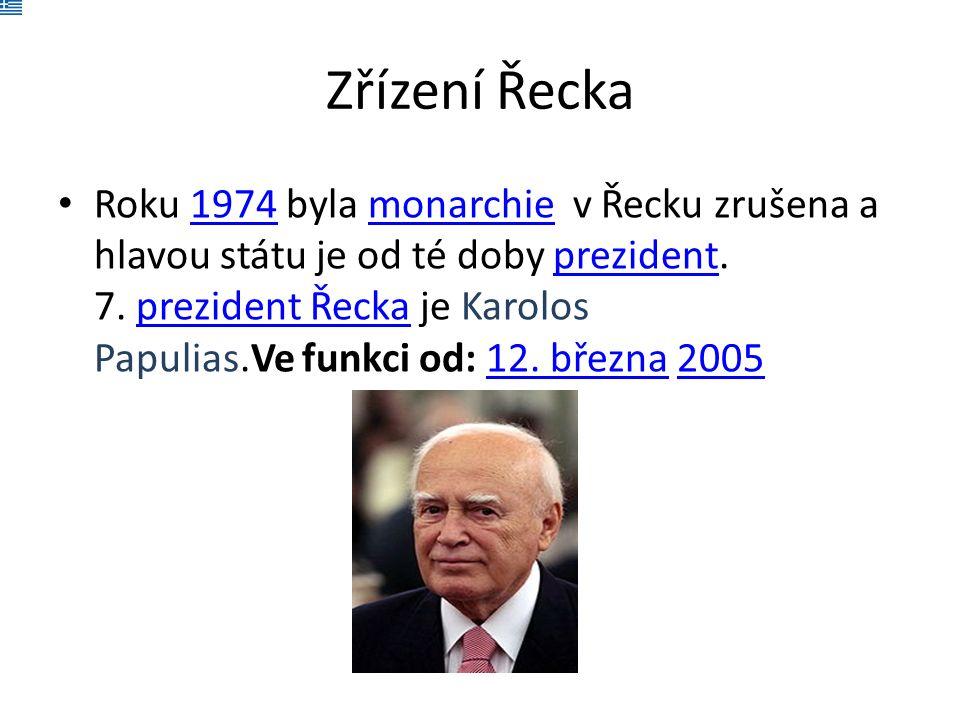 Zřízení Řecka Roku 1974 byla monarchie v Řecku zrušena a hlavou státu je od té doby prezident.