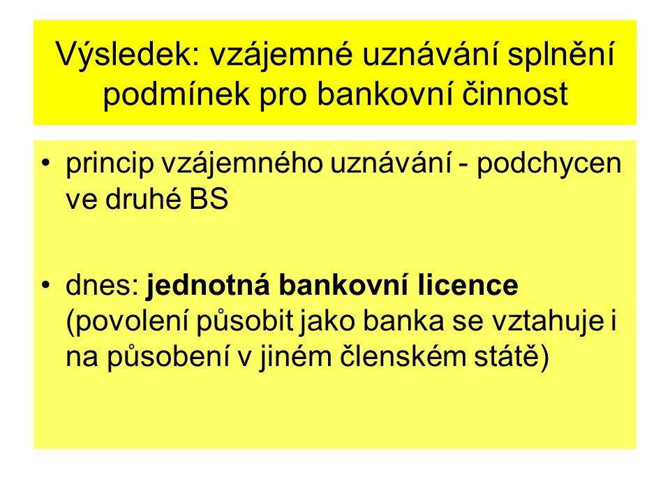 Výsledek: vzájemné uznávání splnění podmínek pro bankovní činnost princip vzájemného uznávání - podchycen ve druhé BS dnes: jednotná bankovní licence (povolení působit jako banka se vztahuje i na působení v jiném členském státě)