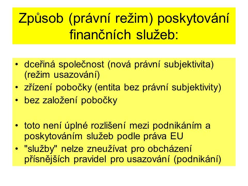 Způsob (právní režim) poskytování finančních služeb: dceřiná společnost (nová právní subjektivita) (režim usazování) zřízení pobočky (entita bez právní subjektivity) bez založení pobočky toto není úplné rozlišení mezi podnikáním a poskytováním služeb podle práva EU služby nelze zneužívat pro obcházení přísnějších pravidel pro usazování (podnikání)