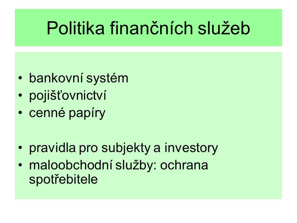 Politika finančních služeb bankovní systém pojišťovnictví cenné papíry pravidla pro subjekty a investory maloobchodní služby: ochrana spotřebitele