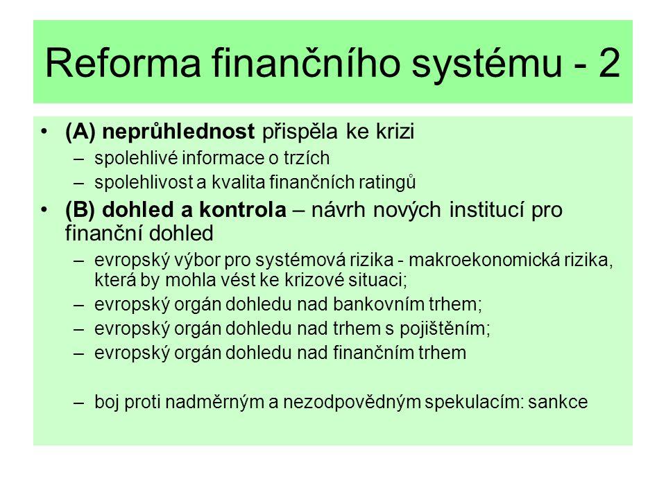 Reforma finančního systému - 2 (A) neprůhlednost přispěla ke krizi –spolehlivé informace o trzích –spolehlivost a kvalita finančních ratingů (B) dohled a kontrola – návrh nových institucí pro finanční dohled –evropský výbor pro systémová rizika - makroekonomická rizika, která by mohla vést ke krizové situaci; –evropský orgán dohledu nad bankovním trhem; –evropský orgán dohledu nad trhem s pojištěním; –evropský orgán dohledu nad finančním trhem –boj proti nadměrným a nezodpovědným spekulacím: sankce