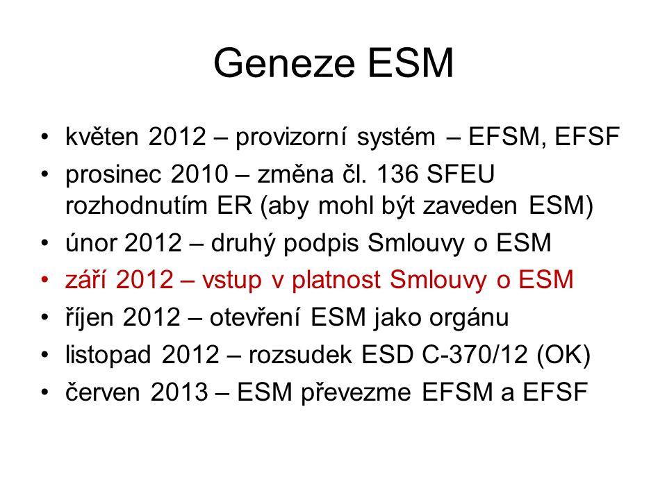 Geneze ESM květen 2012 – provizorní systém – EFSM, EFSF prosinec 2010 – změna čl. 136 SFEU rozhodnutím ER (aby mohl být zaveden ESM) únor 2012 – druhý