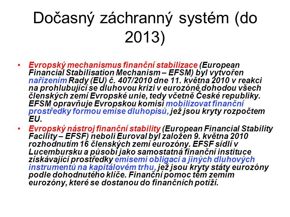 Dočasný záchranný systém (do 2013) Evropský mechanismus finanční stabilizace (European Financial Stabilisation Mechanism – EFSM) byl vytvořen nařízením Rady (EU) č.