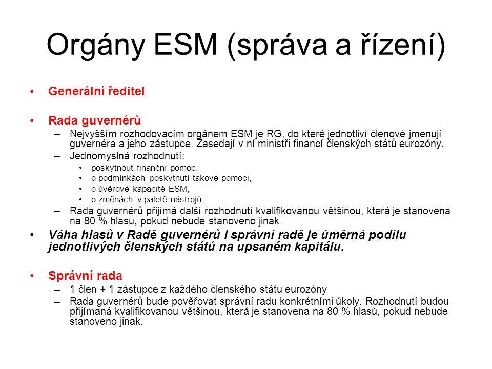 Orgány ESM (správa a řízení) Generální ředitel Rada guvernérů –Nejvyšším rozhodovacím orgánem ESM je RG, do které jednotliví členové jmenují guvernéra a jeho zástupce.
