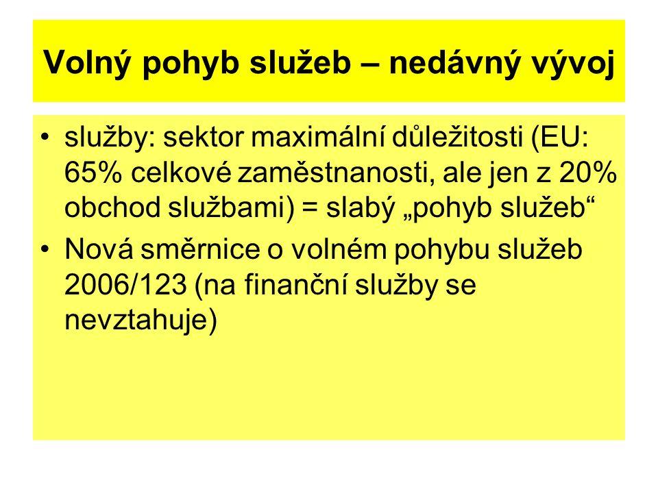 """Volný pohyb služeb – nedávný vývoj služby: sektor maximální důležitosti (EU: 65% celkové zaměstnanosti, ale jen z 20% obchod službami) = slabý """"pohyb služeb Nová směrnice o volném pohybu služeb 2006/123 (na finanční služby se nevztahuje)"""