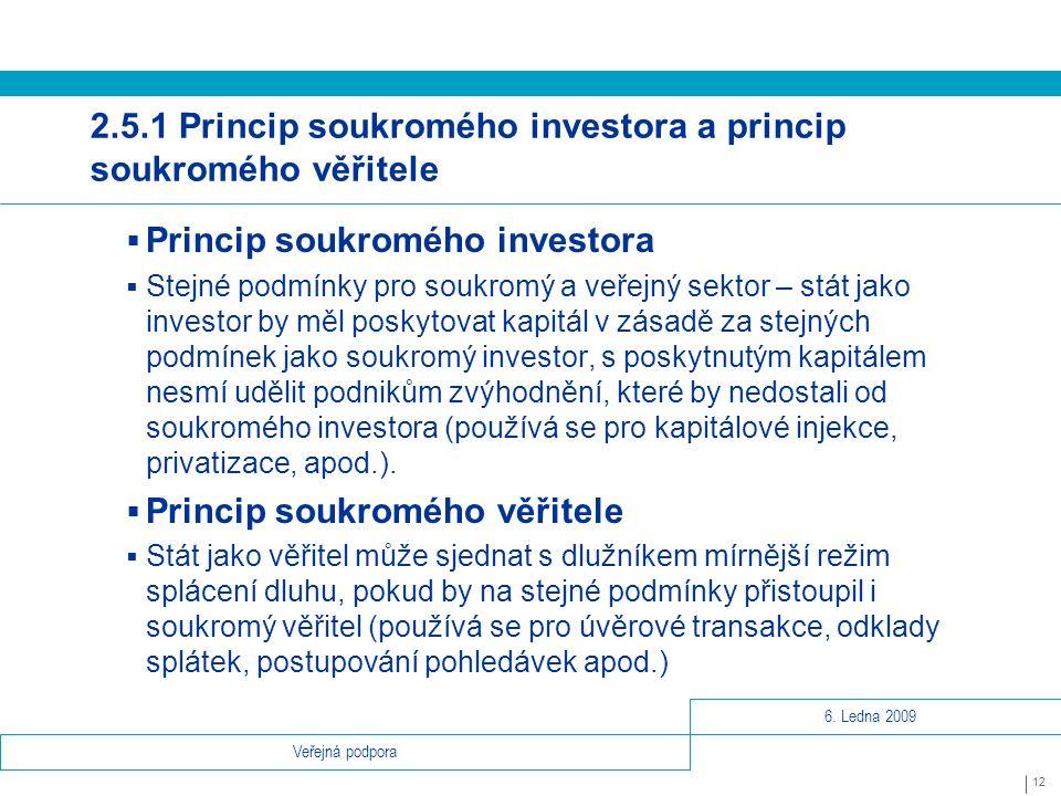 6. Ledna 2009 12 Veřejná podpora 2.5.1 Princip soukromého investora a princip soukromého věřitele  Princip soukromého investora  Stejné podmínky pro