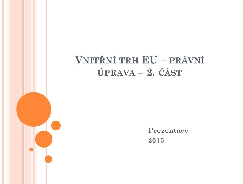 V NITŘNÍ TRH EU – PRÁVNÍ ÚPRAVA – 2. ČÁST Prezentace 2015
