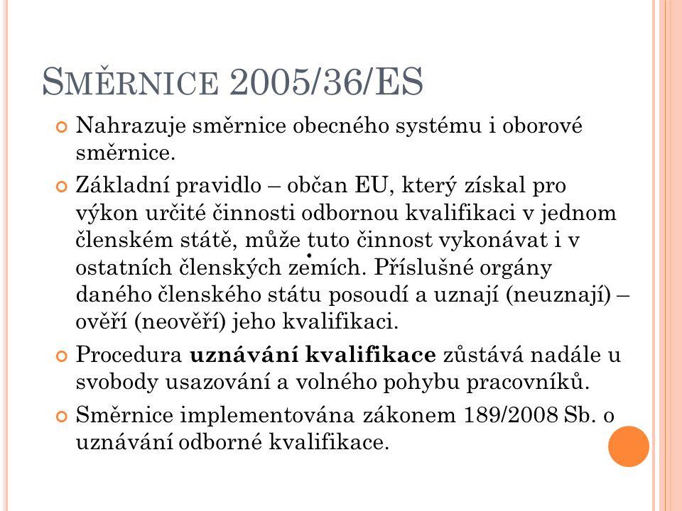 S MĚRNICE 2005/36/ES Nahrazuje směrnice obecného systému i oborové směrnice.