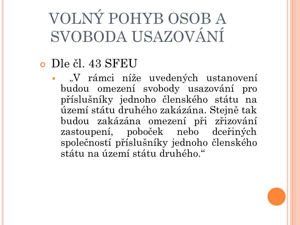VOLNÝ POHYB OSOB A SVOBODA USAZOVÁNÍ Dle čl.