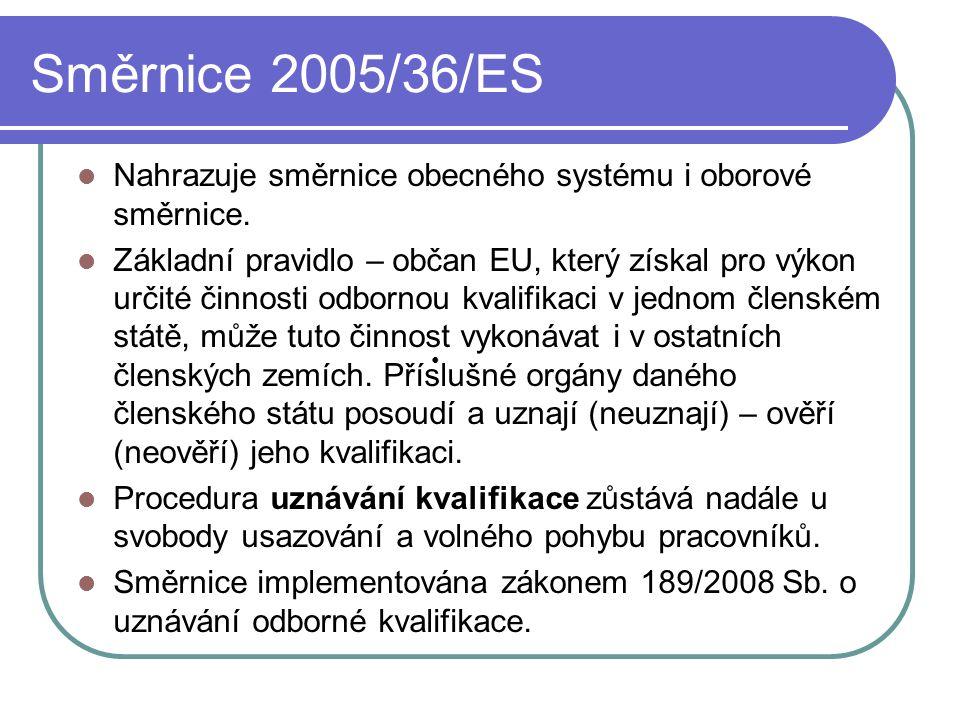 Směrnice 2005/36/ES Nahrazuje směrnice obecného systému i oborové směrnice.