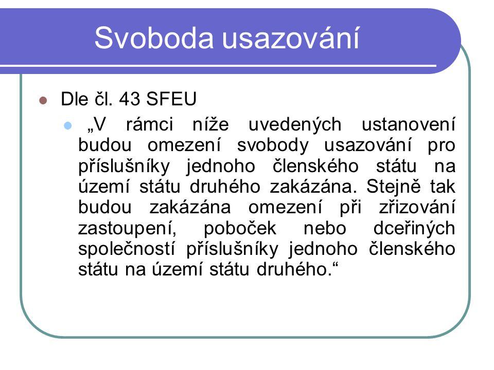 Svoboda usazování Dle čl.