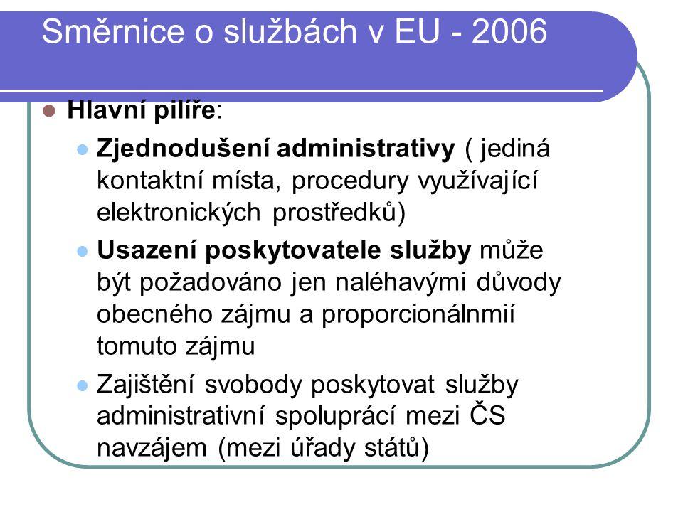 Směrnice o službách v EU - 2006 Hlavní pilíře: Zjednodušení administrativy ( jediná kontaktní místa, procedury využívající elektronických prostředků) Usazení poskytovatele služby může být požadováno jen naléhavými důvody obecného zájmu a proporcionálnmií tomuto zájmu Zajištění svobody poskytovat služby administrativní spoluprácí mezi ČS navzájem (mezi úřady států)