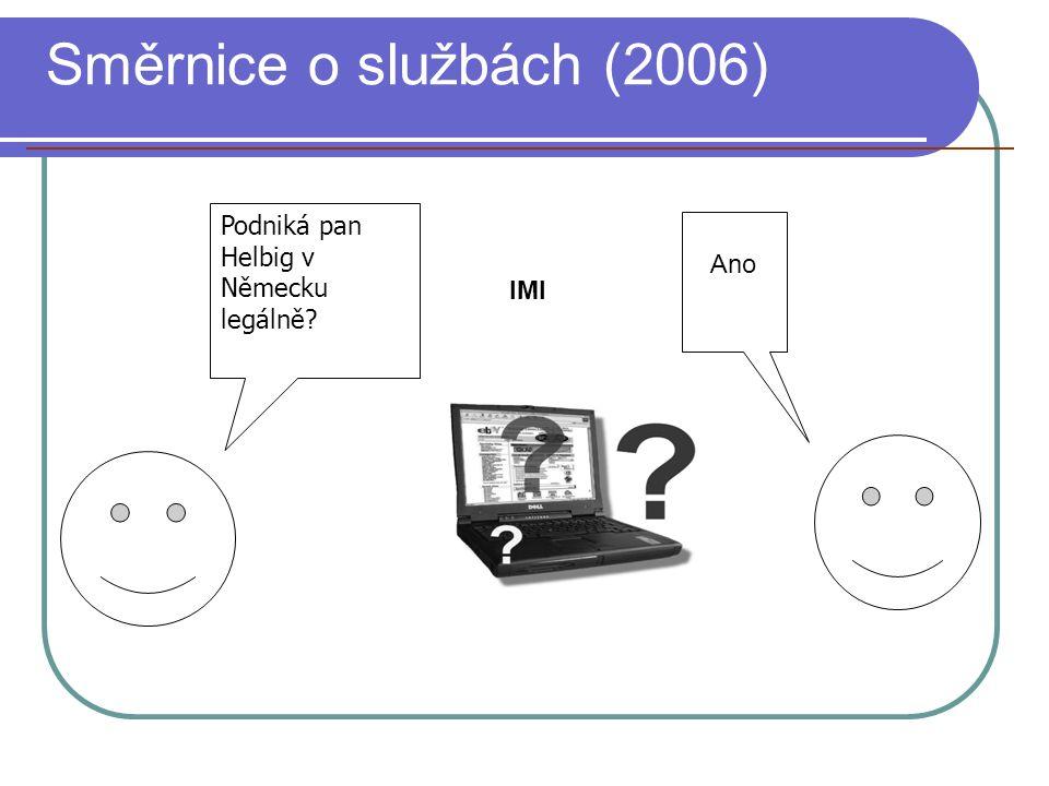 Směrnice o službách (2006) Podniká pan Helbig v Německu legálně Ano IMI