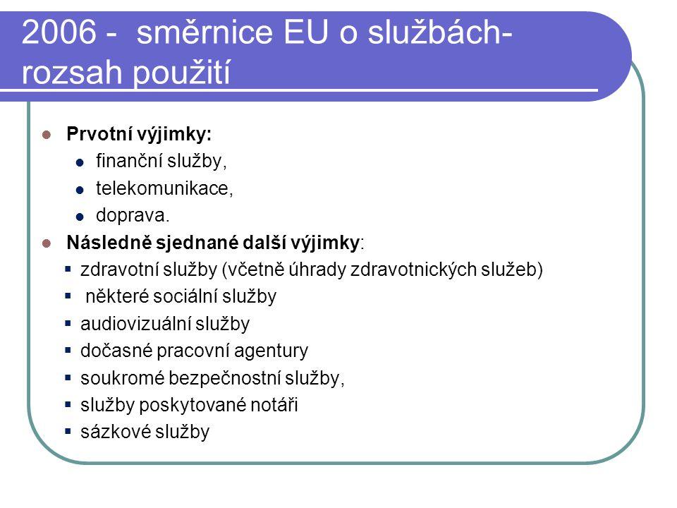 2006 - směrnice EU o službách- rozsah použití Prvotní výjimky: finanční služby, telekomunikace, doprava.