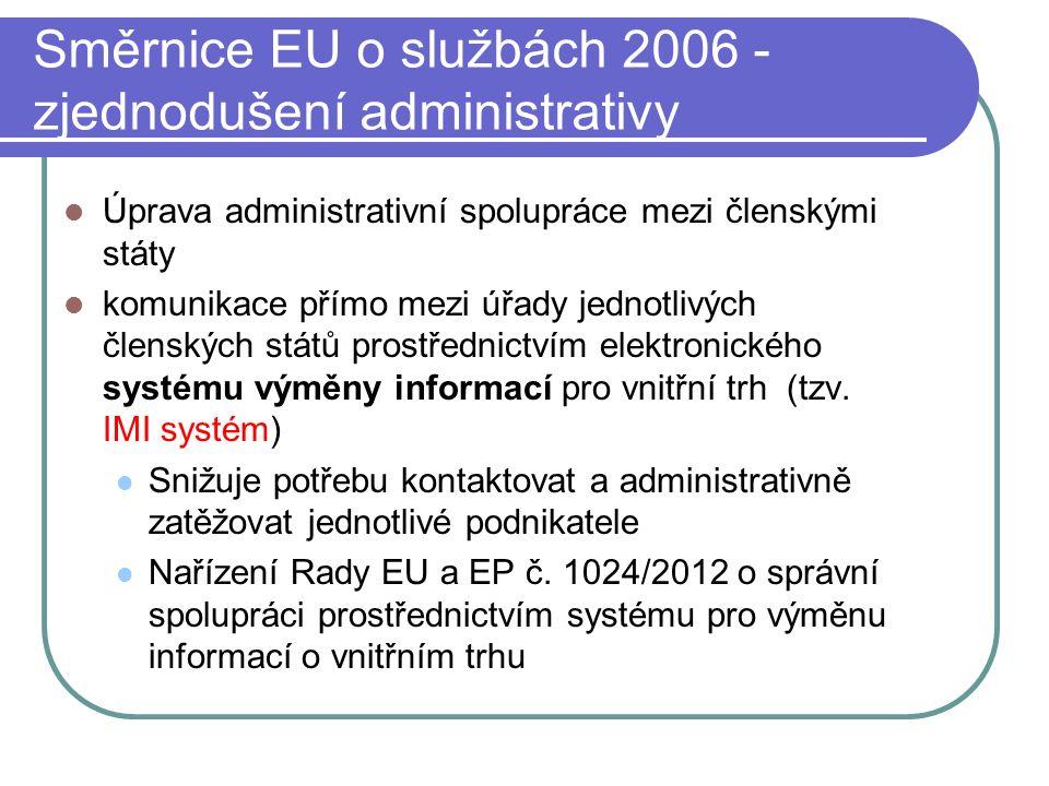 Směrnice EU o službách 2006 - zjednodušení administrativy Úprava administrativní spolupráce mezi členskými státy komunikace přímo mezi úřady jednotlivých členských států prostřednictvím elektronického systému výměny informací pro vnitřní trh (tzv.