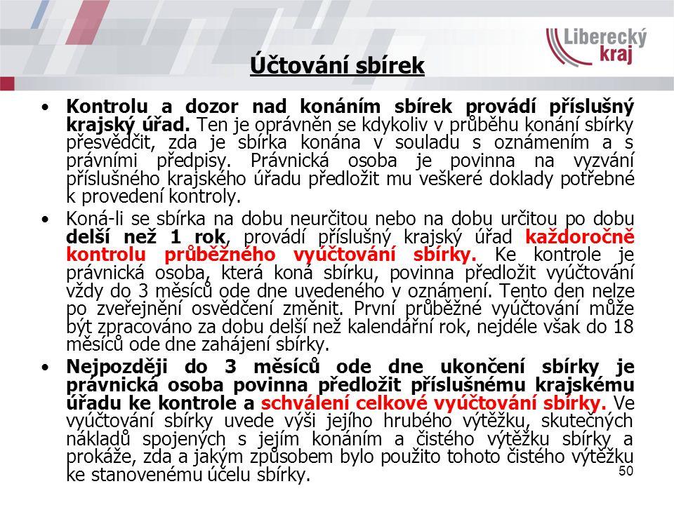 50 Účtování sbírek Kontrolu a dozor nad konáním sbírek provádí příslušný krajský úřad.