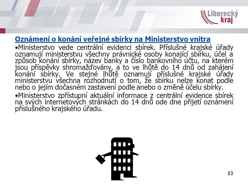 53 Oznámení o konání veřejné sbírky na Ministerstvo vnitra Ministerstvo vede centrální evidenci sbírek.