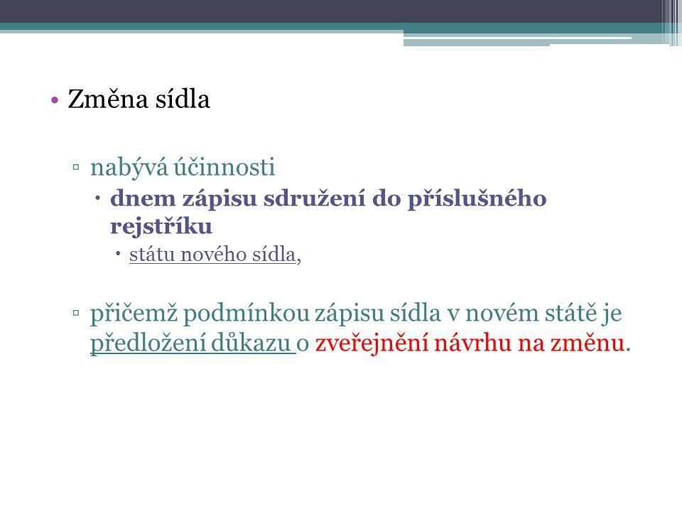 Změna sídla ▫nabývá účinnosti  dnem zápisu sdružení do příslušného rejstříku  státu nového sídla, ▫přičemž podmínkou zápisu sídla v novém státě je p