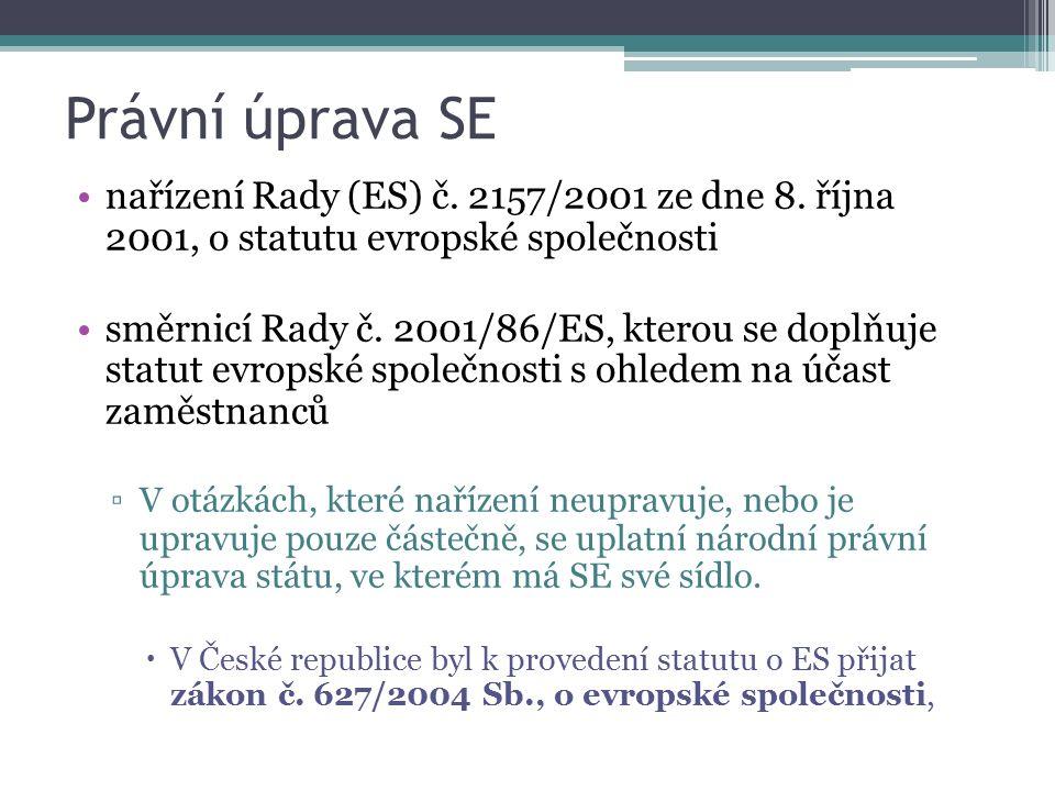 Právní úprava SE nařízení Rady (ES) č. 2157/2001 ze dne 8. října 2001, o statutu evropské společnosti směrnicí Rady č. 2001/86/ES, kterou se doplňuje
