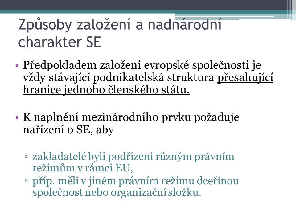 Způsoby založení a nadnárodní charakter SE Předpokladem založení evropské společnosti je vždy stávající podnikatelská struktura přesahující hranice jednoho členského státu.