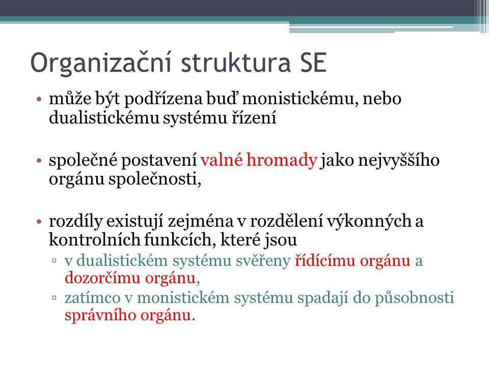 Organizační struktura SE může být podřízena buď monistickému, nebo dualistickému systému řízení společné postavení valné hromady jako nejvyššího orgán