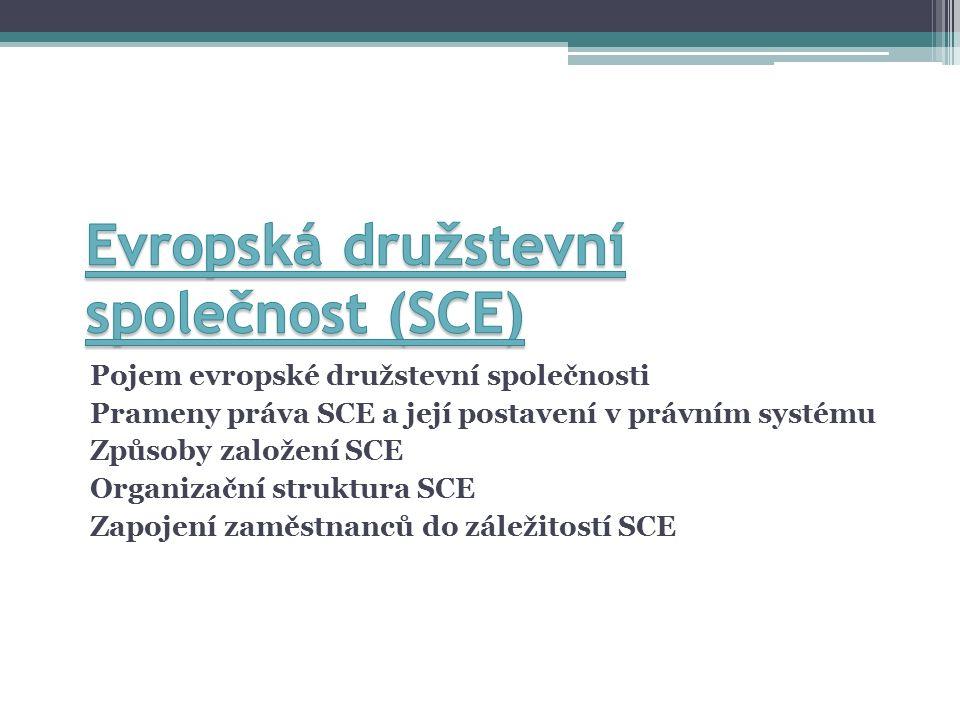 Pojem evropské družstevní společnosti Prameny práva SCE a její postavení v právním systému Způsoby založení SCE Organizační struktura SCE Zapojení zaměstnanců do záležitostí SCE
