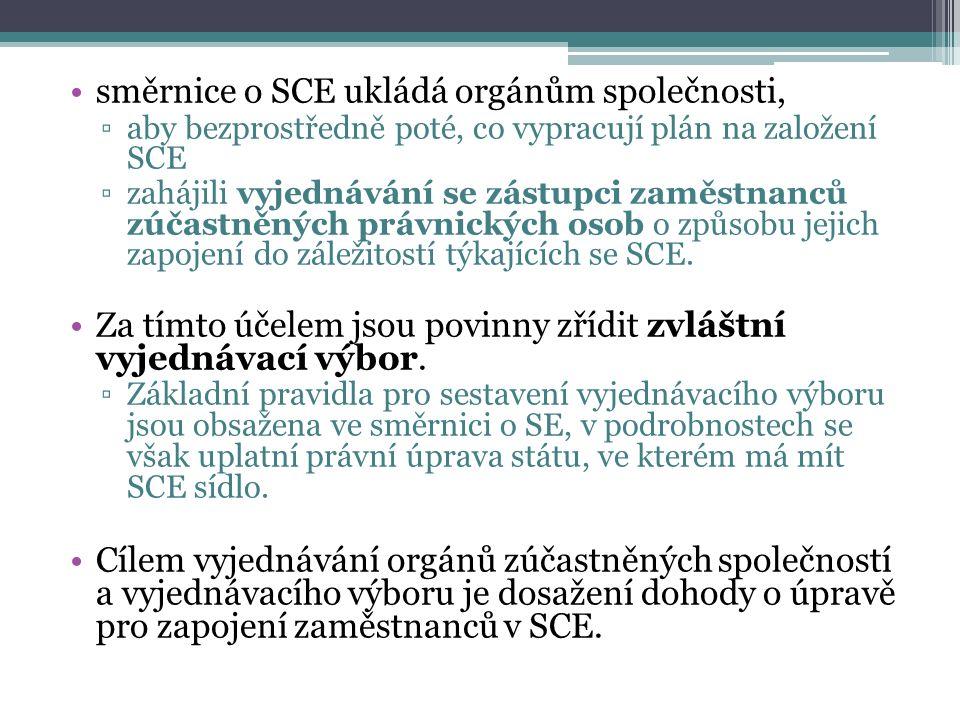 směrnice o SCE ukládá orgánům společnosti, ▫aby bezprostředně poté, co vypracují plán na založení SCE ▫zahájili vyjednávání se zástupci zaměstnanců zú