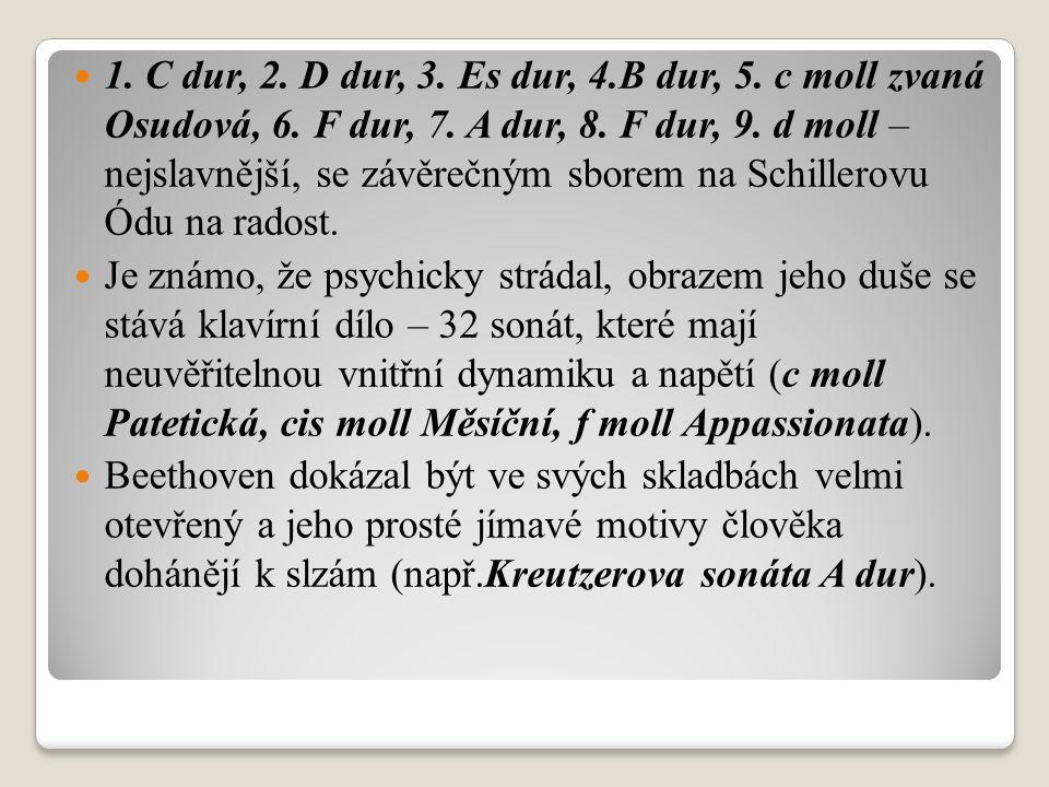 1. C dur, 2. D dur, 3. Es dur, 4.B dur, 5. c moll zvaná Osudová, 6.