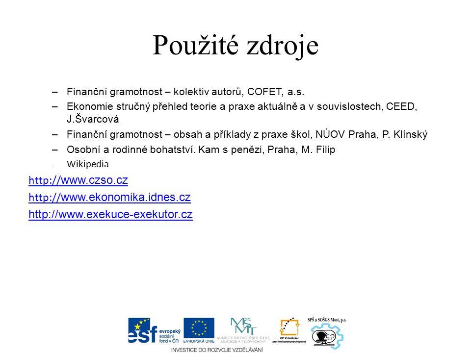 Použité zdroje –Finanční gramotnost – kolektiv autorů, COFET, a.s.