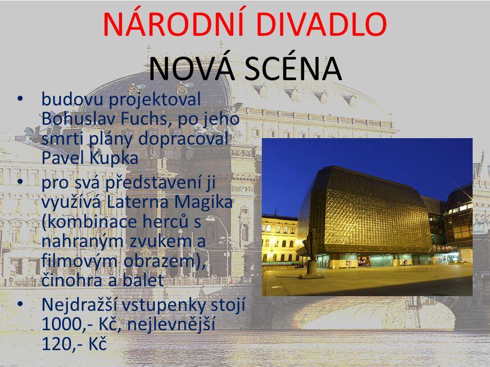 budovu projektoval Bohuslav Fuchs, po jeho smrti plány dopracoval Pavel Kupka pro svá představení ji využívá Laterna Magika (kombinace herců s nahraným zvukem a filmovým obrazem), činohra a balet Nejdražší vstupenky stojí 1000,- Kč, nejlevnější 120,- Kč