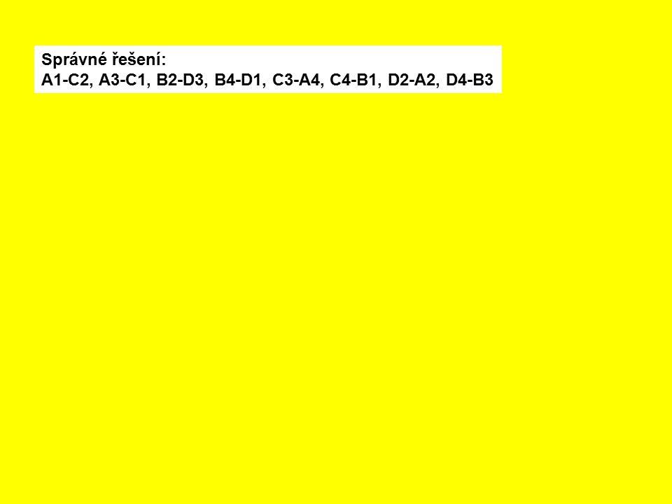 Správné řešení: A1-C2, A3-C1, B2-D3, B4-D1, C3-A4, C4-B1, D2-A2, D4-B3