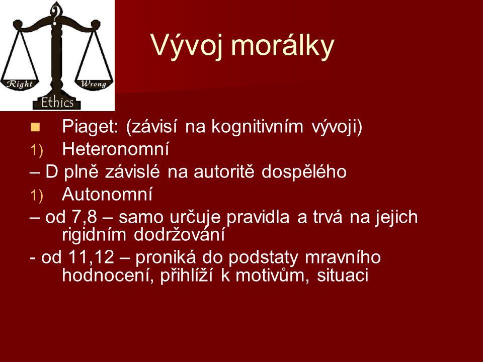 Vývoj morálky Piaget: (závisí na kognitivním vývoji) 1) 1) Heteronomní – D plně závislé na autoritě dospělého 1) 1) Autonomní – od 7,8 – samo určuje pravidla a trvá na jejich rigidním dodržování - od 11,12 – proniká do podstaty mravního hodnocení, přihlíží k motivům, situaci
