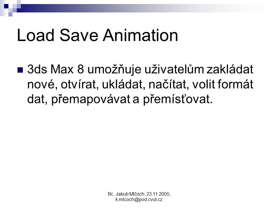 Load Save Animation 3ds Max 8 umožňuje uživatelům zakládat nové, otvírat, ukládat, načítat, volit formát dat, přemapovávat a přemísťovat.
