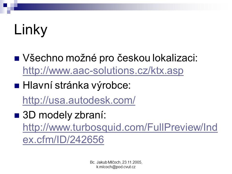 Linky Všechno možné pro českou lokalizaci: http://www.aac-solutions.cz/ktx.asp http://www.aac-solutions.cz/ktx.asp Hlavní stránka výrobce: http://usa.autodesk.com/ 3D modely zbraní: http://www.turbosquid.com/FullPreview/Ind ex.cfm/ID/242656 http://www.turbosquid.com/FullPreview/Ind ex.cfm/ID/242656