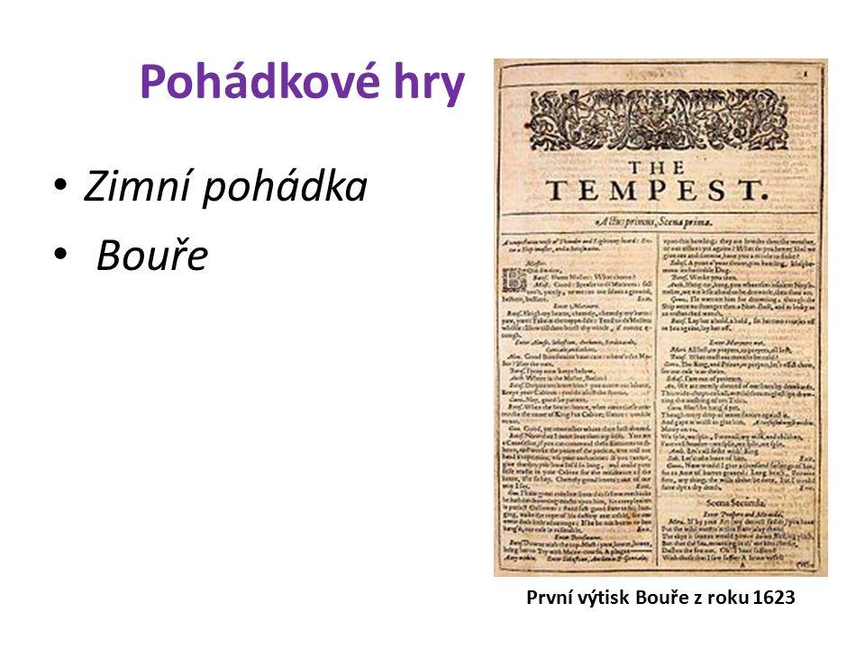 Pohádkové hry Zimní pohádka Bouře První výtisk Bouře z roku 1623