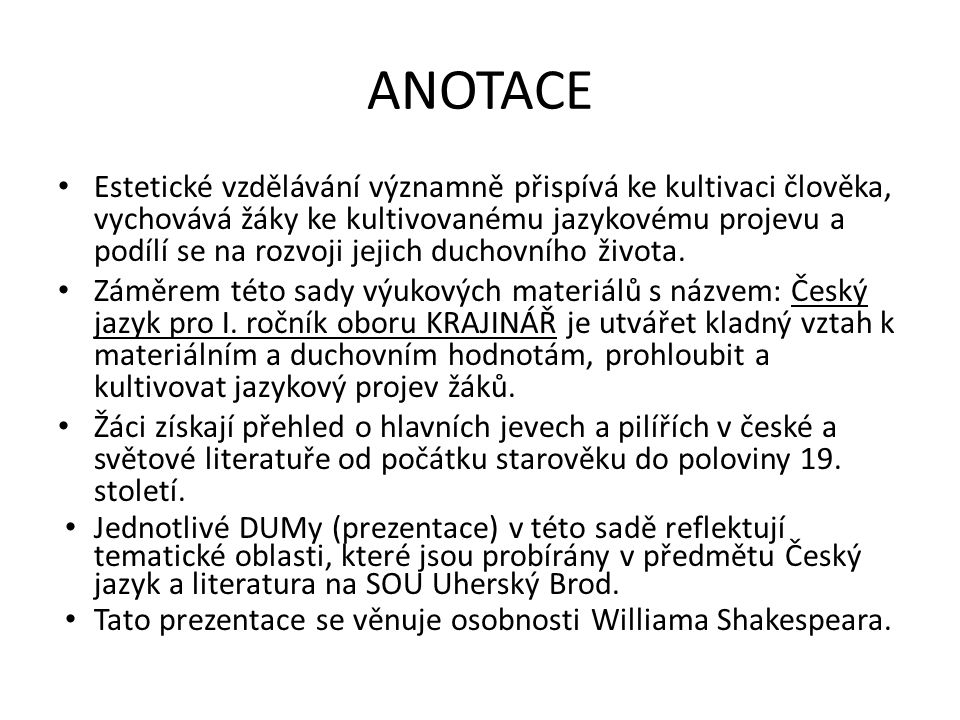 Renesanční literatura William Shakespeare