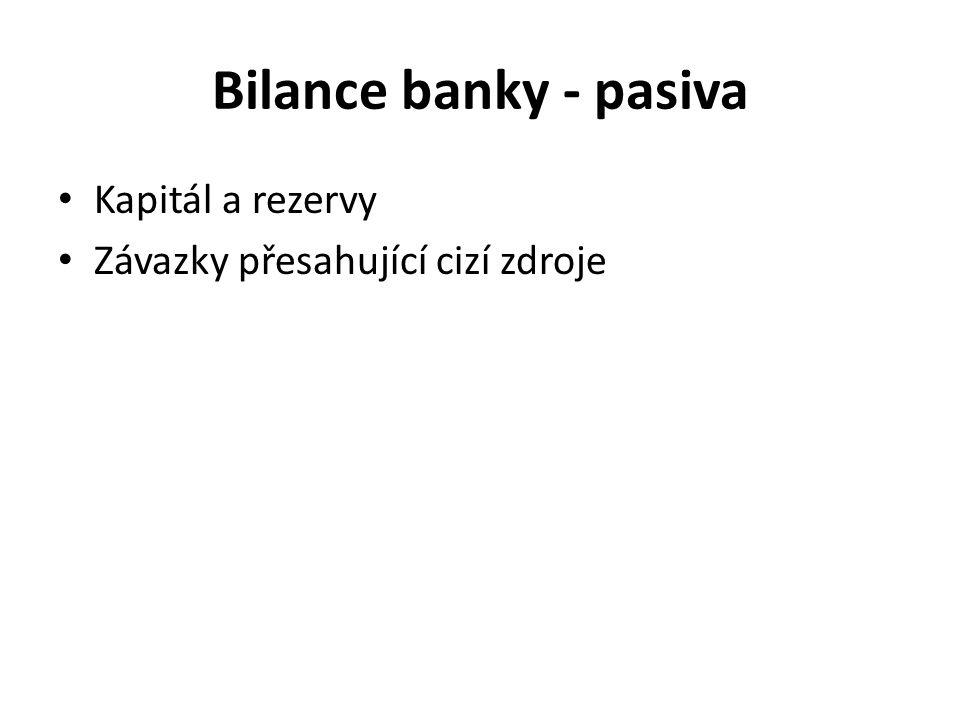 Bilance banky - pasiva Kapitál a rezervy Závazky přesahující cizí zdroje