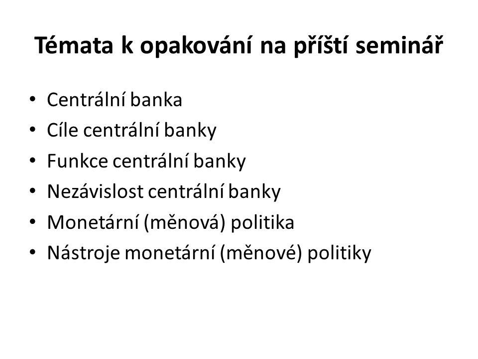 Témata k opakování na příští seminář Centrální banka Cíle centrální banky Funkce centrální banky Nezávislost centrální banky Monetární (měnová) politika Nástroje monetární (měnové) politiky