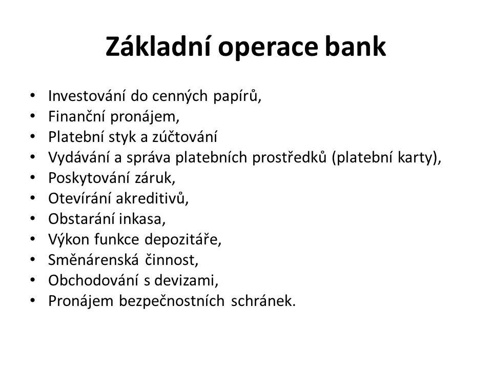 Základní operace bank Investování do cenných papírů, Finanční pronájem, Platební styk a zúčtování Vydávání a správa platebních prostředků (platební karty), Poskytování záruk, Otevírání akreditivů, Obstarání inkasa, Výkon funkce depozitáře, Směnárenská činnost, Obchodování s devizami, Pronájem bezpečnostních schránek.